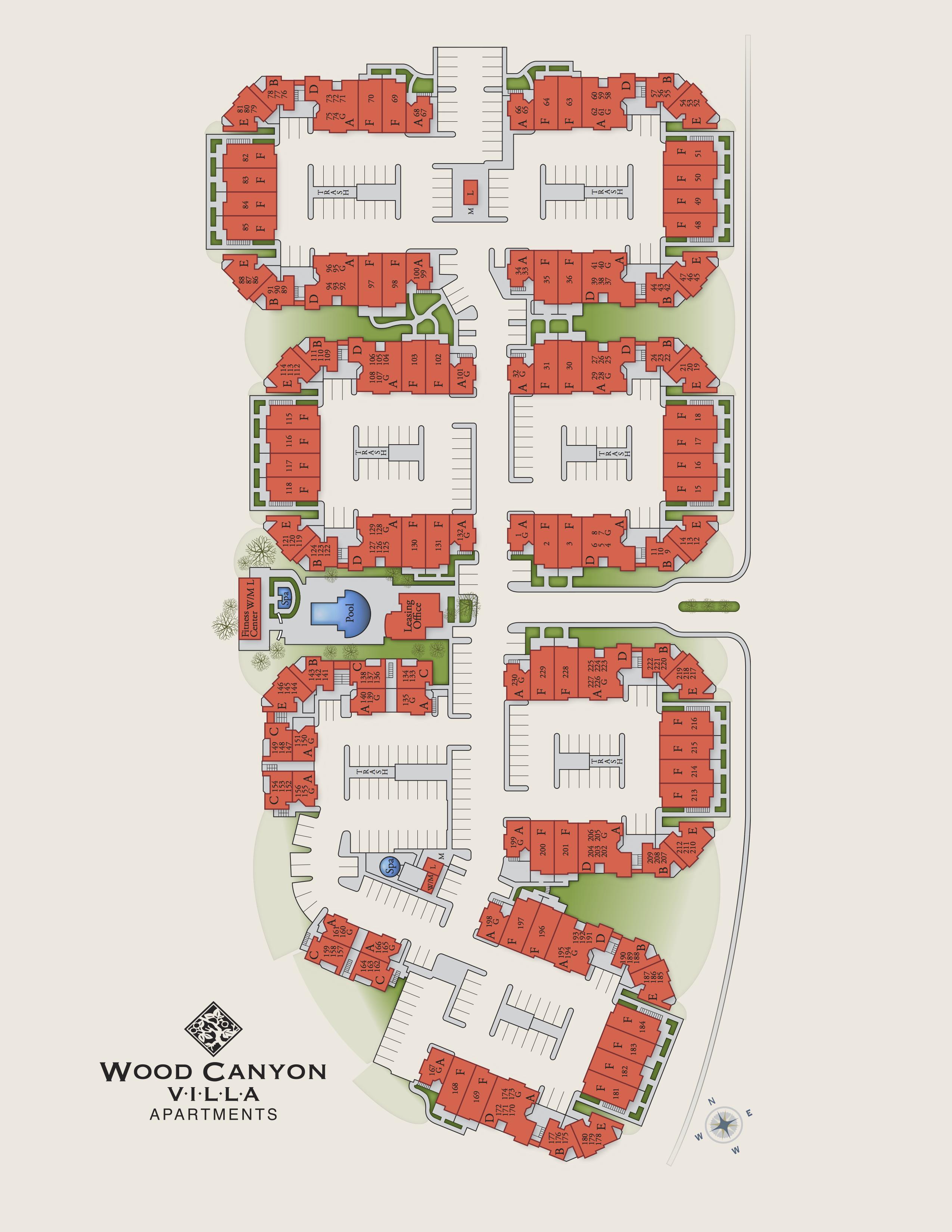 Wood Canyon Villa Apartment Homes - Site Map